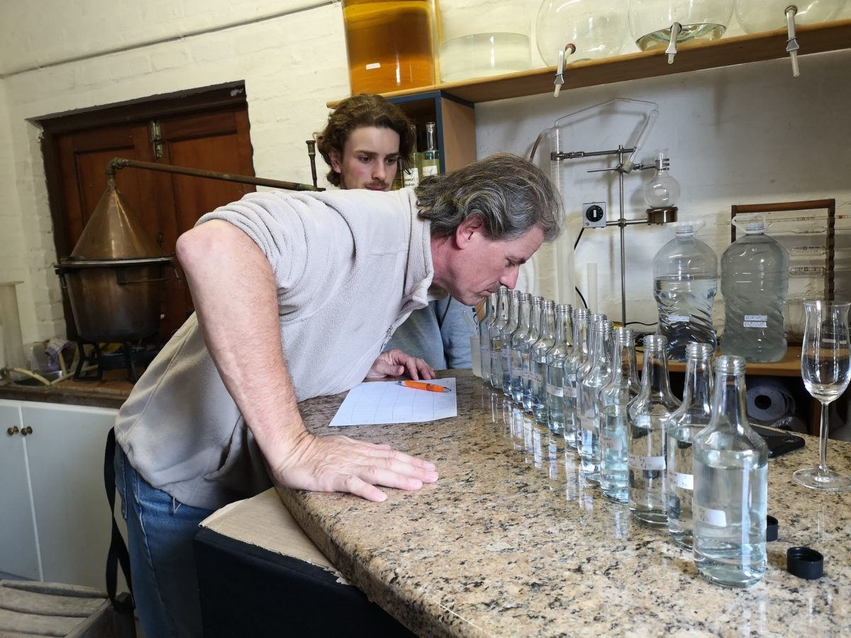 At the Blomendahl Laboratory: Benedikt and Franz Blomendahl busy developing the best possible combination. The result? A Michelangelo Platinum Award Winning Gin…ROXI`S BOTANICAL GIN!